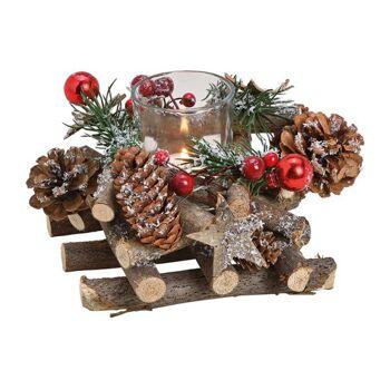 Windlicht Gesteck, Kranz Weihnachtsmotiv aus Holz, Glas Bunt (B/H/T) 16x11x16cm