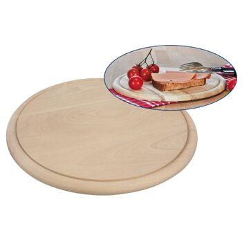 12-28566, Holz Schinkenteller D: 28 cm, mit Saftrille, Frühstücksbretter, Schinkenbrett, Frühstücksbrett