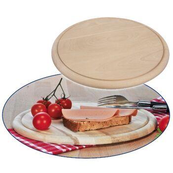 12-28572, Holz Schinkenteller D: 25 cm, mit Saftrille, Frühstücksbretter, Schinkenbrett, Frühstücksbrett