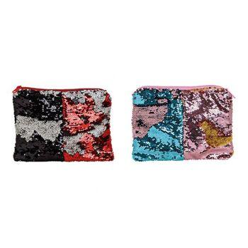 Kosmetiktasche mit Pailetten Farbwechsel aus Textil, Kunstleder Bunt 2-fach, (B/H/T) 25x19x1cm