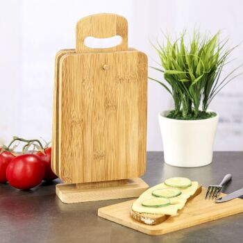 12-28573, Bambusbrettchen 6er Pack mit Ständer, Frühstücksbretter, Schinkenbrett, Frühstücksbrett, Frühstücksbrettchen