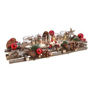 Adventsgesteck, Teelichthalter Weihnachtsmotiv aus Holz, Glas Bunt (B/H/T) 40x10x17cm