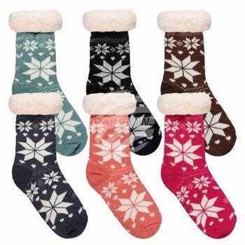 Weihnachtssocken Hüttensocken für Damen Sterne