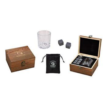 Whisky Stein Set, Eiswürfel aus Basalt Stein 2x2x2cm, Glas 210ml, Grau 6er Set, in Holzbox (B/H/T) 17x14x9cm