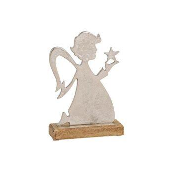 Engel aus Metall, Mango Holz Sockel Silber, braun aus Metall Silber (B/H/T) 14x22x5cm