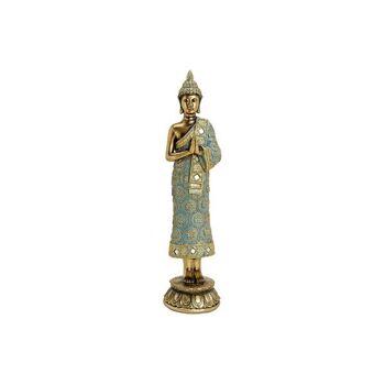 Buddha stehend auf Lotus Sockel aus Poly Gold (B/H/T) 9x36x9cm