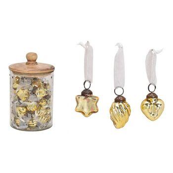 Hänger aus Glas Gold 3-fach, (B/H) 3,5x3,5cm, 48 Stk in Glas mit Holz Deckel 12x20x12cm