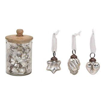 Hänger aus Glas Silber 3-fach, (B/H) 3,5x3,5cm, 48 Stk in Glas mit Holz Deckel 12x20x12cm
