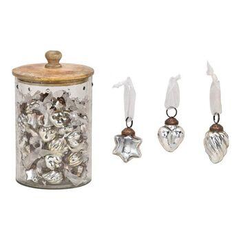 Hänger aus Glas Silber 3-fach, (B/H) 3,5x3,5cm, 96 Stk in Glas mit Holz Deckel 14x25x14cm