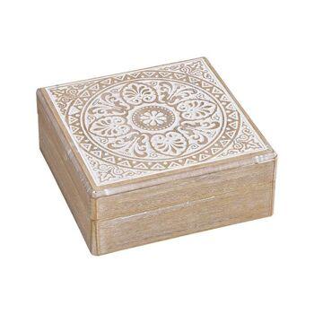 Kiste Marokko dekor aus Holz Braun, weiß (B/H/T) 18x7x18cm