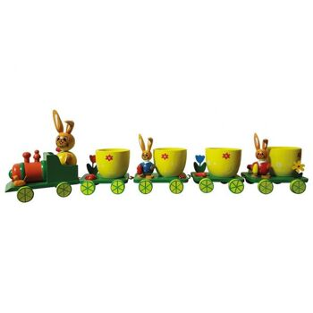 Osterzug mit Kugelhasen und Anhänger für Eier aus Holz Bunt (B/H/T) 41x8x6cm