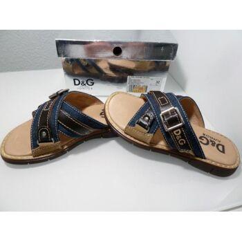 D&G Sandale OLG44 Blau/Braun Leder/Textil G.33