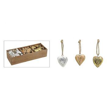 Hänger Herz in gold/silber/kupfer aus Holz, 3-fach sortiert, 5 cm