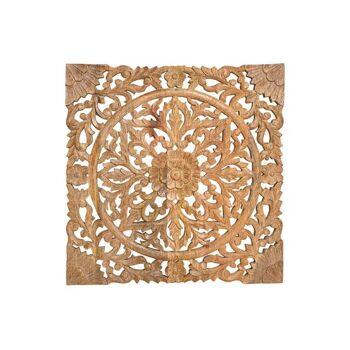 Wandbild 3D Blumen Dekor aus Mango Holz Braun (B/H/T) 50x50x2cm