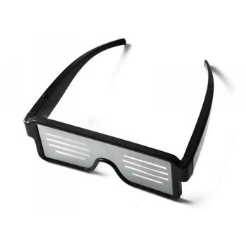 LED Brille mit 8 Motiven +USB Ladekabel (Weiss)