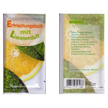 Erfrischungstücher aus Vlies Duft Limone, einzeln verpackt, Super Give Aways Artikel / Streuartikel