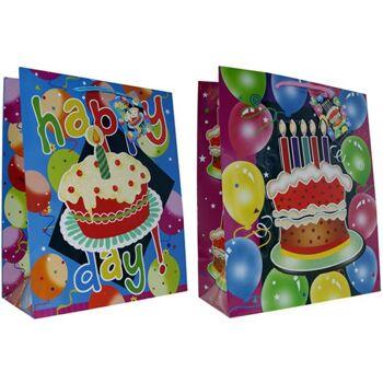 Geschenkbeutel groß (26 cm x 32 cm x 13 cm) Kindergeburtstag,, 5 Designs, Applikationen, Glimmer