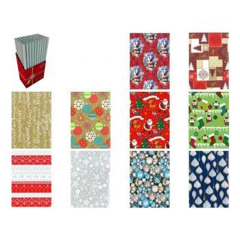 Geschenkpapier mit Weihnachtsmotiven 70x200 cm, auf Rolle, 10-fach sortiert, im 60er Displaykarton