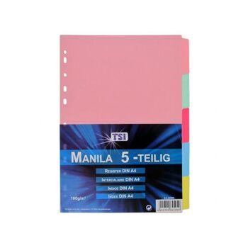 Manila Register mit 5 blanko Taben,, Register aus stabilem Manila Karton (160 g/m²)