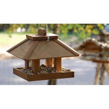 12-328501107, Holz Vogelhäuschen mit Futtersilo zur Futterkontrolle, Futterspender für Vögel