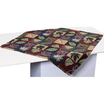 Gobelin Tischdecke Mitteldecke Tischwäsche Motiv Blatt 80x80 cm