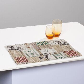 Gobelin Tischset Platzset Unterlage Motiv Rentier 32x48 cm 4er Set
