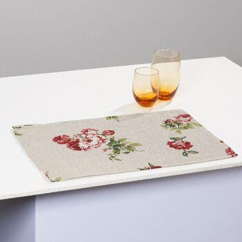 Gobelin Tischset Platzset Unterlage Motiv Rose 32x48 cm 4er Set