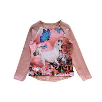 Kinder Mädchen Trend Sweatshirt Pferd Pullover Oberteil Shirt Shirts Langarm Kindershirt - 6,90 Euro