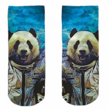 Motiv Socken blau weiß Panda Astronaut