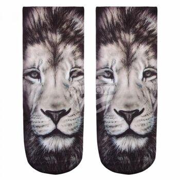 Motiv Socken Löwe schwarz weiss