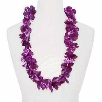 Hawaii Blumenkette glänzend lila ca. 100 cm