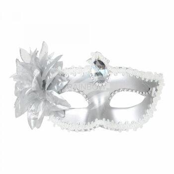 Karnevalsmaske silber Venezianische Augenmaske