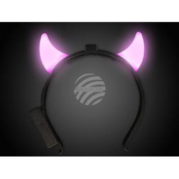 LED Leuchthaarreifen pink kurze Teufelshörner