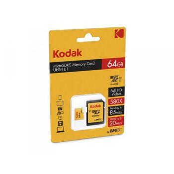 MicroSDXC 64GB Kodak +Adapter CL10 UHS-I 85MB/s Blister
