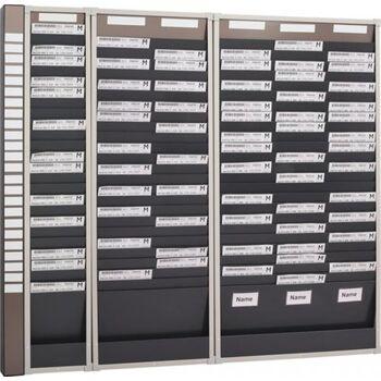 Karten-Sortiertafel H1350xB260xT75 mm, 1 Reihe, Mit 25 Fächern