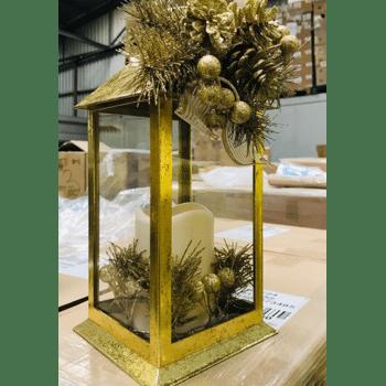 NEU | Laterne m. goldener Glitzer-Deko | mit Originalverpackung