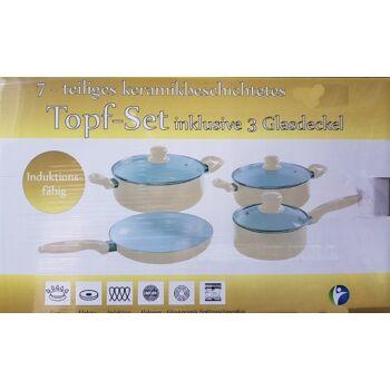 7-teiliges Keramik Topfset mit Softgriffen und Glasdeckeln induktionsfähig - creme