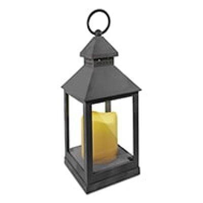 LED Laterne in Grau mit flackernder Kerze, In- und Outdoordekoration