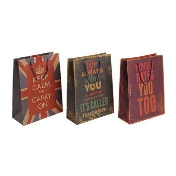 Geschenktüte Sprüche aus Papier, 3-fach sortiert, B26 x T12 x H33 cm