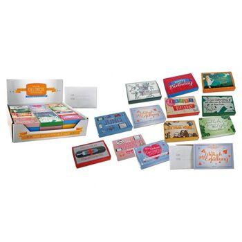 Gutscheinbox mit Briefumschlag, 12-fach sortiert, B8 x T5 x H1 cm