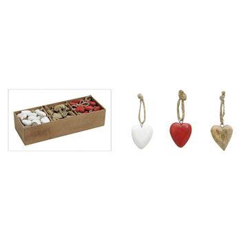 Hänger Herz in rot/weiß/braun aus Holz, 3-fach sortiert, 5 cm