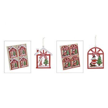 Weihnachtsanhänger Rot aus Holz, 2-fach sortiert, B7 x T10 cm