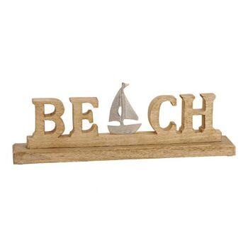 Aufsteller Schrifzug BEACH aus Mango Holz, Metall braun, silber (B/H/T) 42x14x6cm