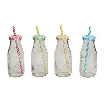 Milchflasche Strohhalmdeckel, 4-fach sortiert, B6 x H19 cm, 300 ml