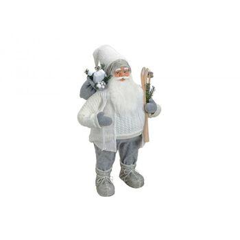 Nikolaus aus Textil/Kunststoff in weiß/grau, 80 cm