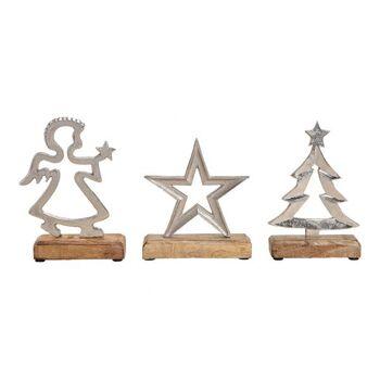 Stern, Baum, Engel aus Metall Mangoholz Silber 3-fach, (H) 20cm