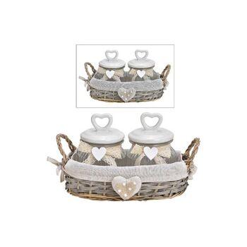 Vorratsdosen-Set im Weidenkorb aus Glas Transparent, mit Keramik Herz Deckel 3er Set, (B/H/T) 28x18x16cm
