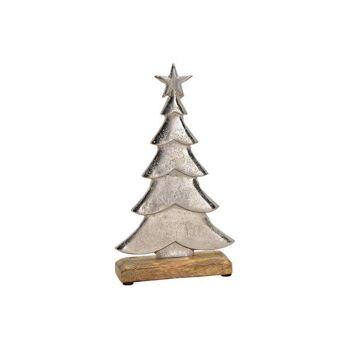 Tannenbaum aus Aluminium auf Mango Holz Sockel Silber (B/H/T) 17x30x5cm