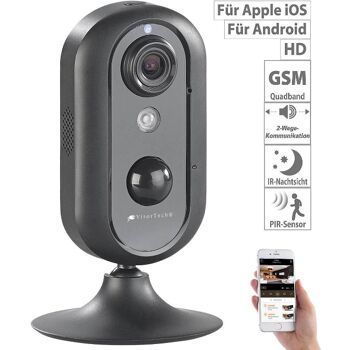 VisorTech IPC-630.hd LTE Kamera IP-HD-Überwachungskamera mit 4G, GSM, 3G, WLAN, Nachtsicht Sicherheitskamera Überwachung Security