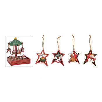 Weihnachtshänger Stern Weihnachtsmotiv 72 Stk. im Baum Display aus Holz Bunt 4-fach, (B/H) 5x8cm